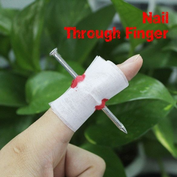 2017 New Fake Blood Manmade Nail Through Finger With Bandage April Fool Trick Prop Scary Toy YH-17