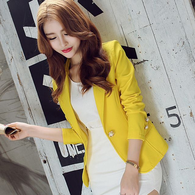 Women's suit jacket slim long sleeved jacket suits women long jacket blazer office jackets blazer women solid blazer mujeres