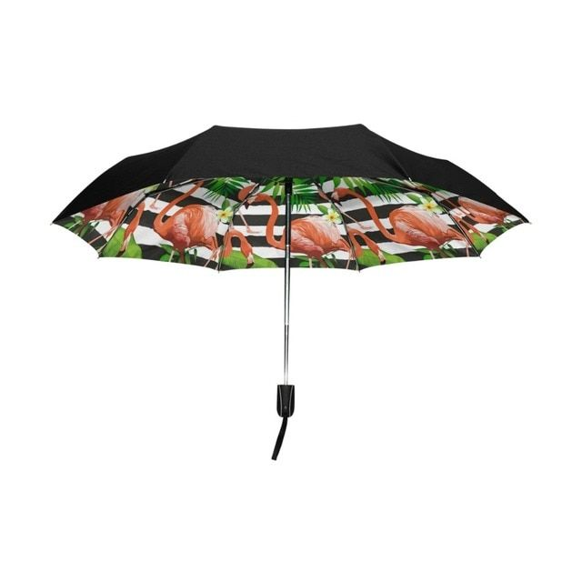 Automatic Compact Sun Umbrella Tropical Flamingo Striped Summer Folding Umbrella Waterproof Anti-UV Protective Canopy Parasol