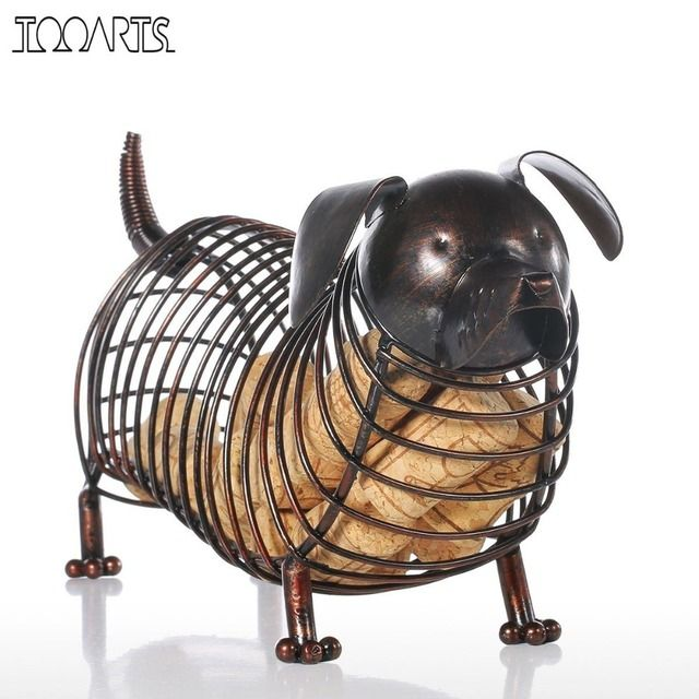 Tooarts Metal Animal Figurines Dachshund Wine Cork Container Modern Artificial Iron Craft Home Decoration Accessories Gift