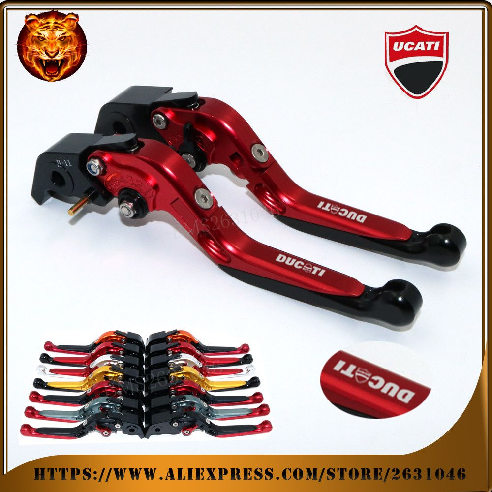 For DUCATI HYPERMOTARD 1100/S/EVO SP MOTO MOTOBIKE RED BLACK ORANGE Motorcycle Adjustable Folding Extendable Brake Clutch Leve