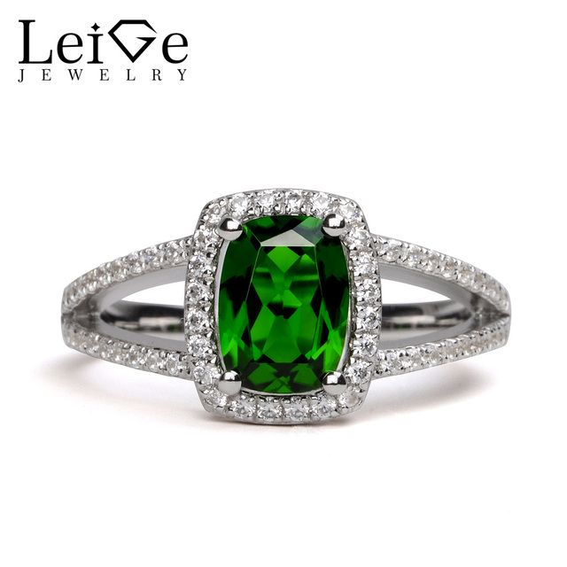 Leige Jewelry Chrome Diopside Ring 6*8mm Cushion Cut Gemstone Engagement Wedding Rings for Her Fine Jewelry Valentine Gifts
