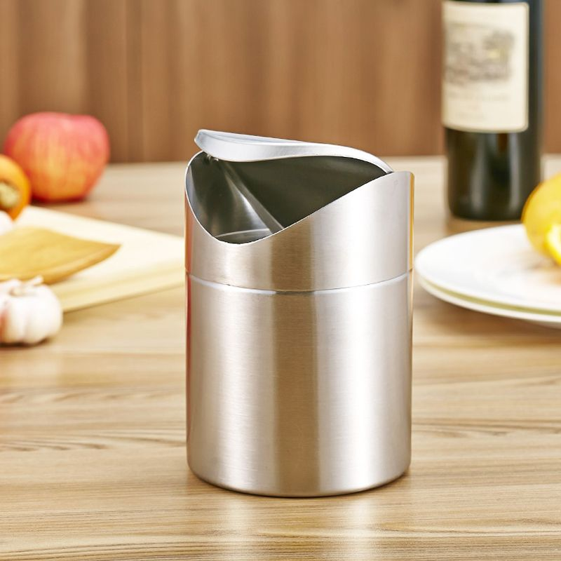 High Quality 1.5L Home Small Recycling Bin Swing Lid Kitchen Table Tidy Stainless Steel Dustbin Trash Can Waste Rubbish