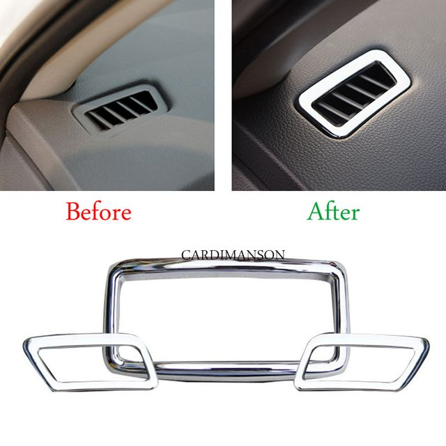 3 pcs/lot for Nissan X-Trail T32 Rogue 2014 2015 air conditioning vent armrest box rear outlet frame cover trims chrome sticker