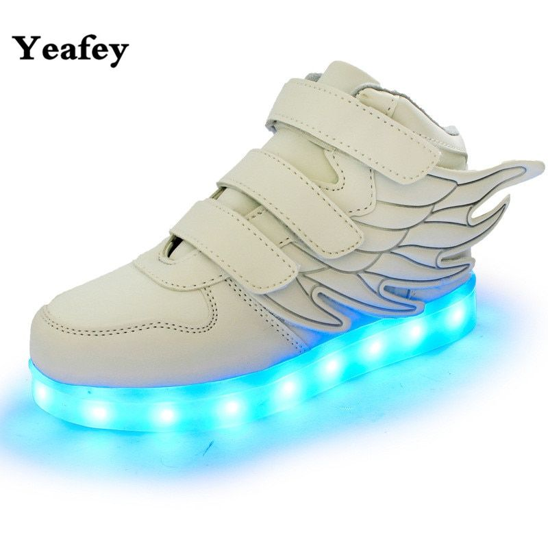 Yeafey White Light Girls Led Shoes Children Illuminated Luminous Sneakers Running Girls Led Shoes Wings Glowing Wing Sneakers