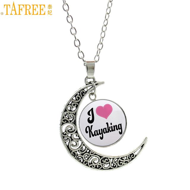 TAFREE vintage summer fashion Love Kayaking chain necklace Kayak Slalom water sports Canoe Polo men women pendant jewelry SP605