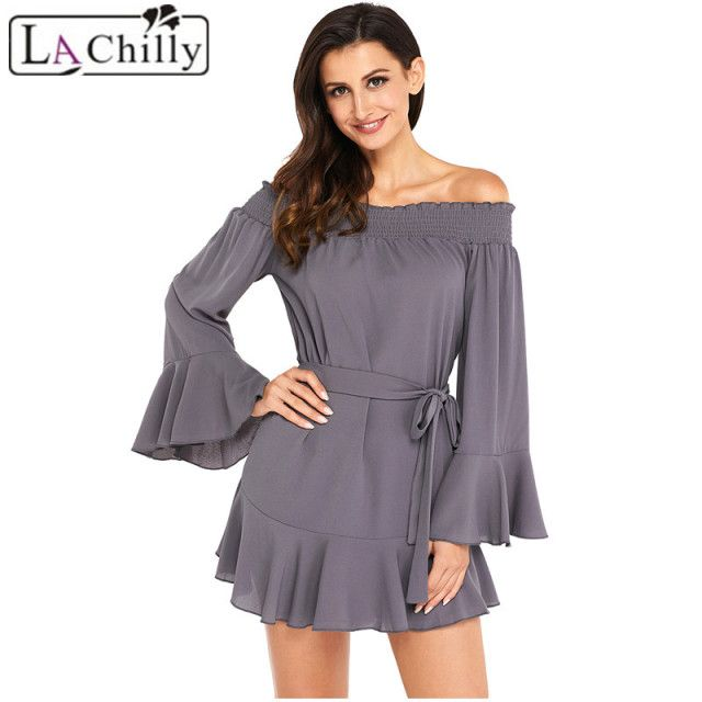 La Chilly Long Sleeve Vestido Casual Womens Dresses 2018 Autumn White Flare Sleeve Drop Hem Pleated Off Shoulder Dress LC220116
