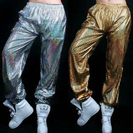 Laser Reflective Sequins Jazz hiphop hip-hop Modern Dance Pants Trousers for Men and Women