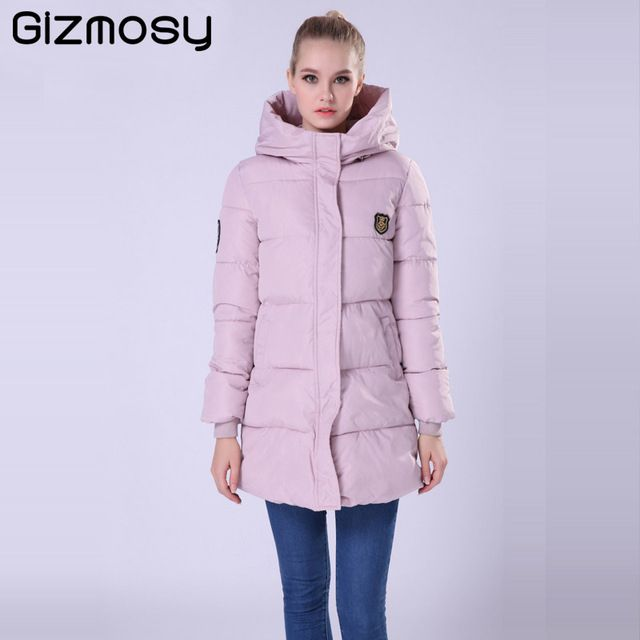 Gizmosy 2016 New Long Winter Jacket Women Slim Female Coat Thicken Parka Down Cotton Clothing Hooded Jackets Student SY020