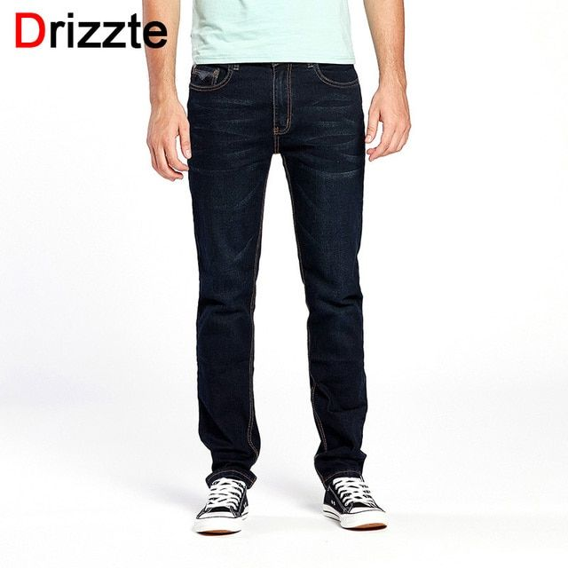 Drizzte Brand Men Jeans Size 28 to 44 Black Blue Stretch Denim Regular Men Jean for Man Pants Trousers Black Jeans
