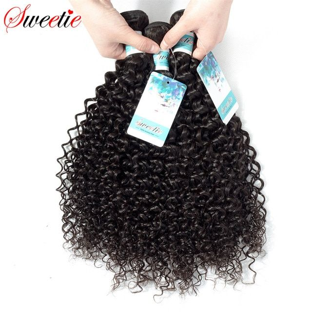 Sweetie Hair Peruvian Kinky Curly Wave 100% Human Hair Weaving Extensions Non Remy 1 Piece Only 100g Natural Black Free Shipping