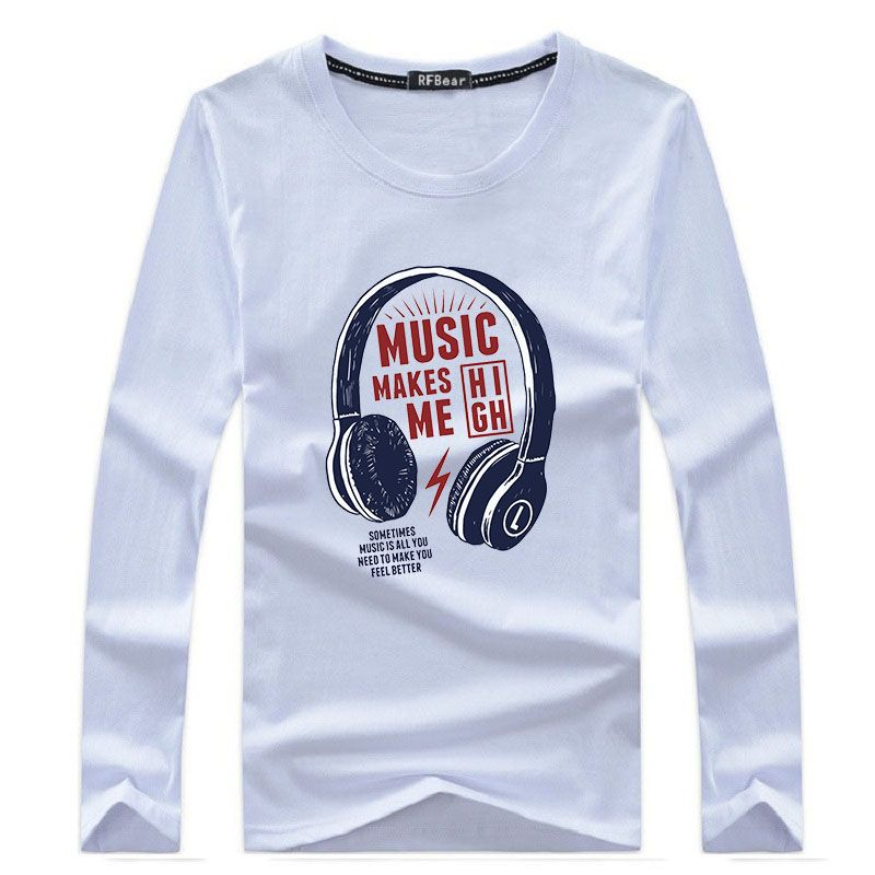 RFBear Brand 2018 New Men's Cotton T-Shirt Long Sleeve Casual T Shirt O-Neck Funny Print Tasual tshirt Top Tees