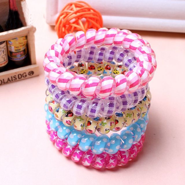 Fashion 10Pcs Women High Quality Telephone Wire Hair band Hair Accessories Headband Ponytail Holder