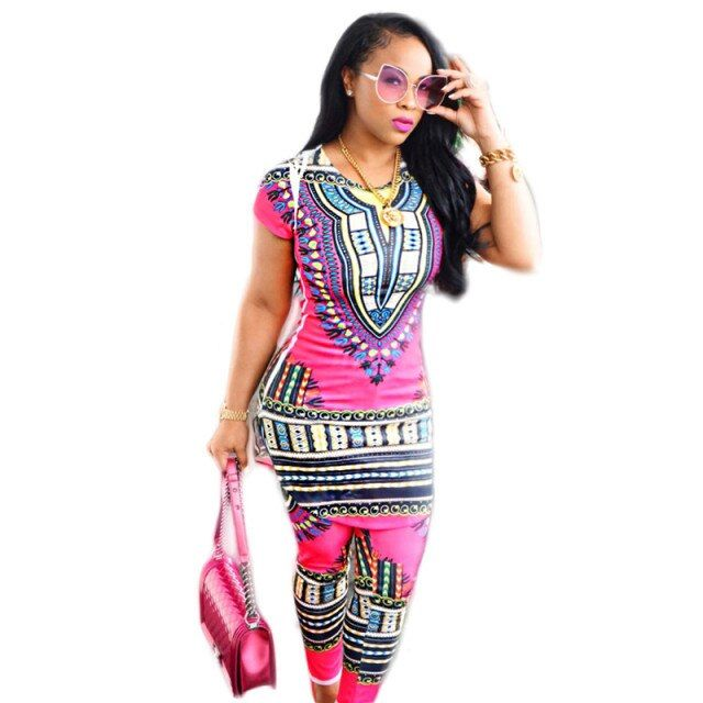 2016 new sexy 2 piece set women African Tribes print Dashiki set long blusa and ankle length pants pink tracksuit ensemble femme