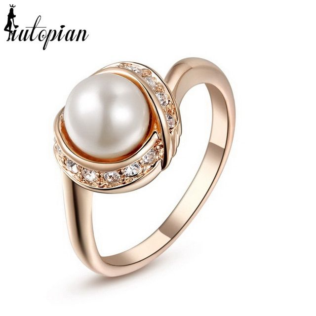 Iutopian Brand Elegant Ring For Women With Top Quality Simulated Pearl Gift For Girlfriend#RG93137