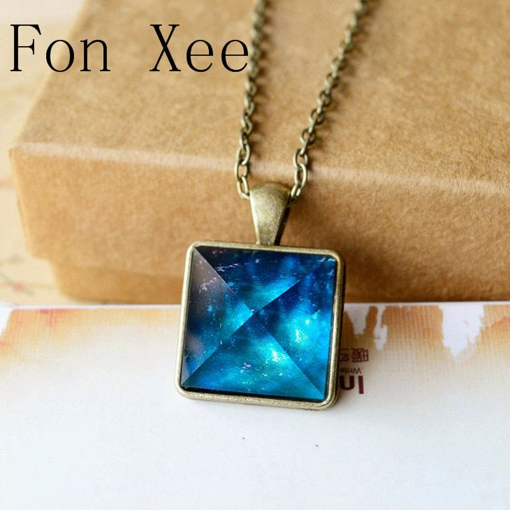Fon Xee Blue Galaxy Pyramids Necklace Vintage Glowing Jewelry Love Pendant for Couples Lovers Glow In the Dark F005