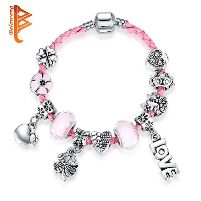 BELAWANG Cute Genuine Braided Leather Bracelet Girls Bracelet for Women Jewelry with Snake Chain Love Heart Charms Bracelet