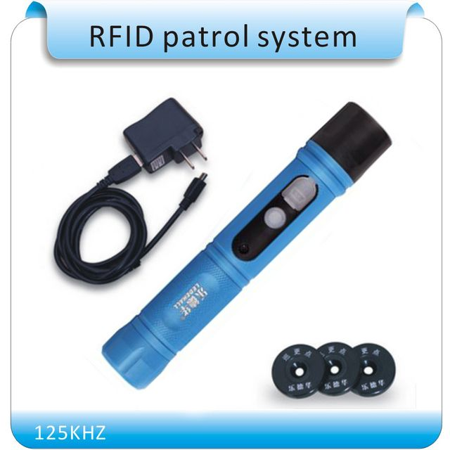 125KHZ Waterproof IP67 Rugger RFID Guard Tour Patrol System, Security Patrol Wand,Guard Tour Device with LED light +10 tags