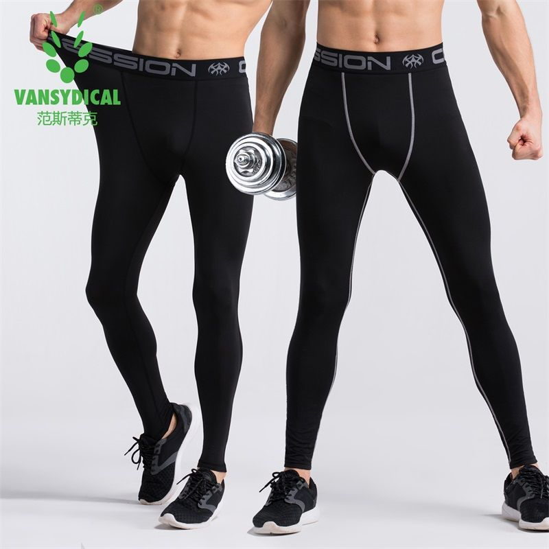 Vansydical Plus Size Compression Pants Men Sport Running Tights Men Leggings Fitness Gym Leggings Football Basketball Sportswear
