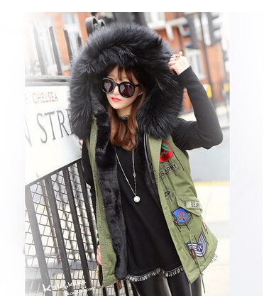 New 2016 Women Winter Parka Bigger Fur Collar Vest Women Jacket Thick Faux Fur Ladies Coats Women Basic Coats Army Green #F001