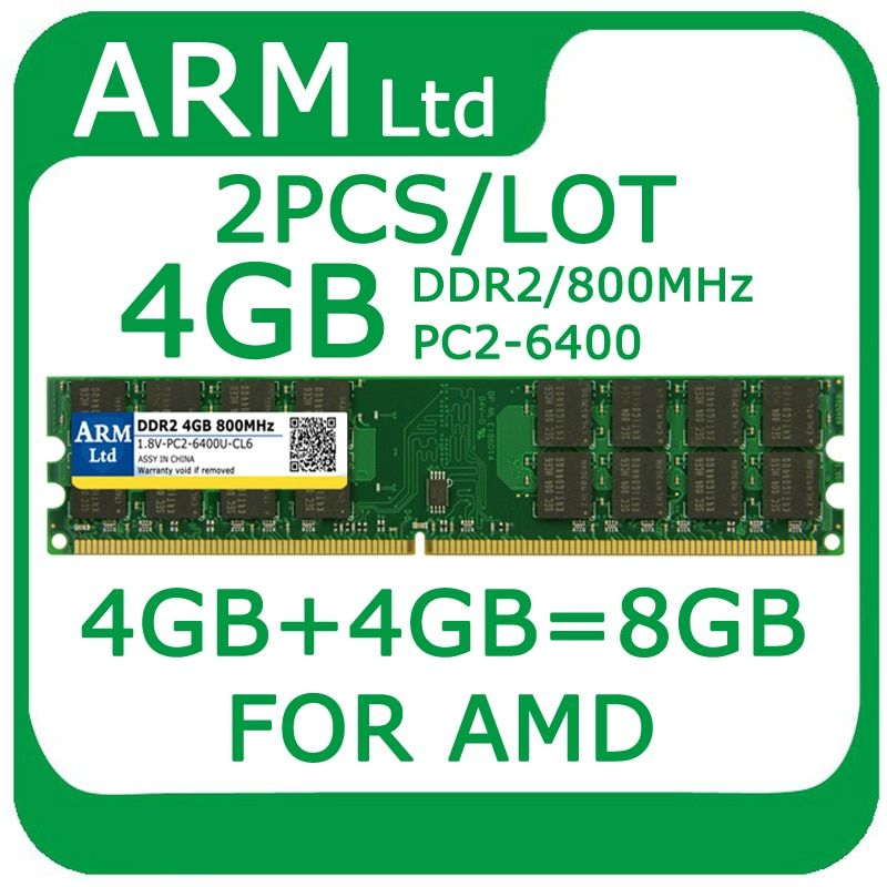 Wholesale 2PCS/LOT 8GB=4GB+4GB DDR2 800MHz PC2-6400 DIMM Memory For Desktop PC RAMS For AMD System