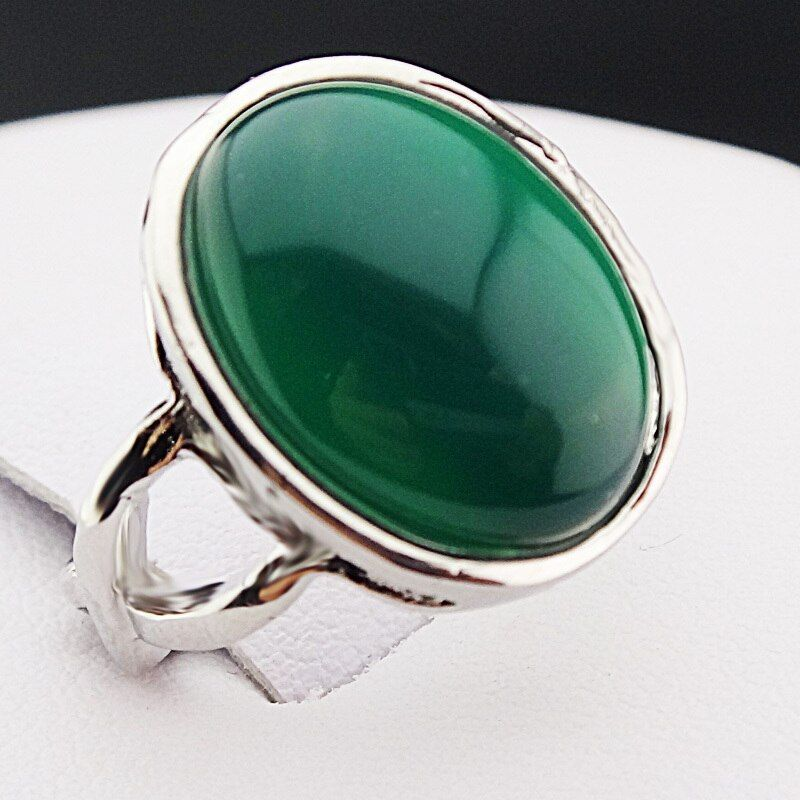 New Arrival Guaranteed 100% Malay Jade Stones Oval Vintage Retro Silver Rings for Womens Mens Mother's Day Gift A544