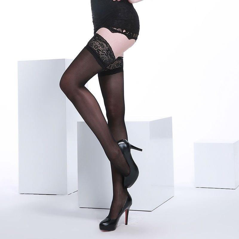 Women' s Lace Top Stay-up Thigh High Stockings 40 Denier Core-spun Silk Sheer Over Knee Nylon Sexy Hosiery