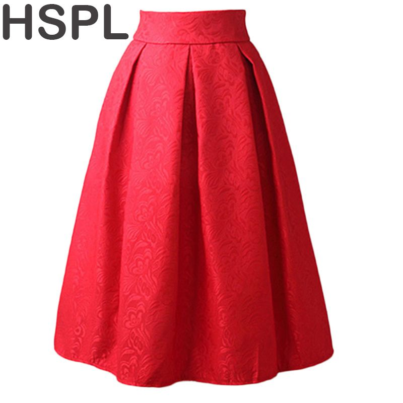 Women Skirts High Waist Pleated Midi 2017 Spring Summer Vintage Skirt Work Wear Hepburn Skirts Lady  Europe Saia