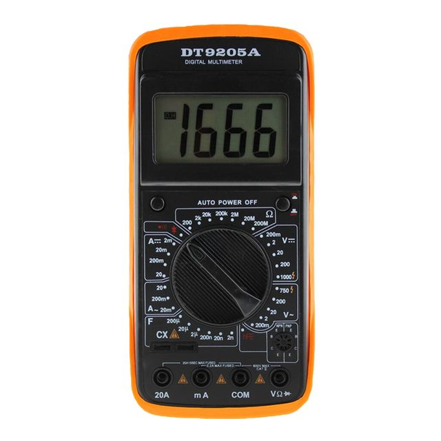 LCD Display Professional Electric Handheld Tester Meter Digital Multimeter AC DC Volt Amp Ohm Tester with 2 Test Leads Line