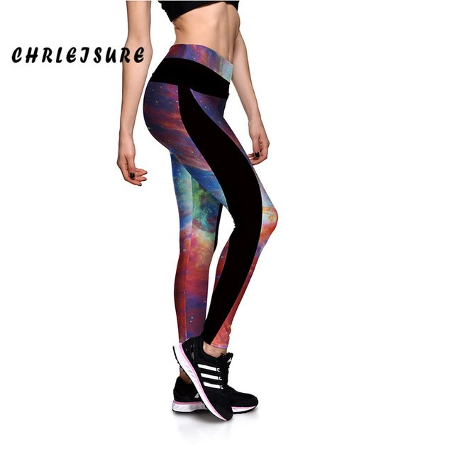 CHRLEISURE Galaxy Print Leggings For Women Fitness Pants Elastic Waist Trousers High Quality Breathable New Style Leggings