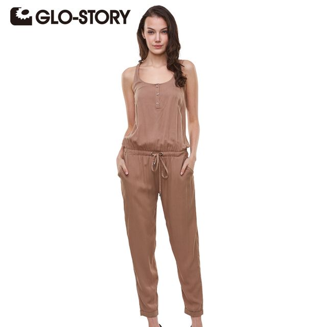 GLO-STORY Brand 2017 Summer Elegant Womens Rompers Jumpsuit Casual Solid Bodysuit Sleeveless Crew Neck Long Playsuits Plus Size