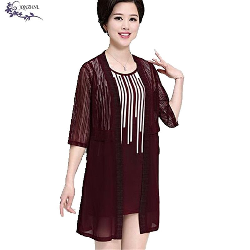 Women Middle-aged Two pieces set Summer Casual Women Plus size Cardigan Loose Round neck Women Two pieces set Short Dress A314