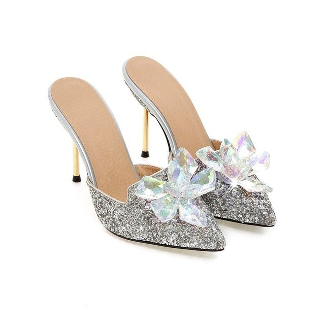 Ladies Wedding Glitter Bling Bling Heel Stilettos Clear Flower Mules Dress Shoes Evening Party Courts Size S596