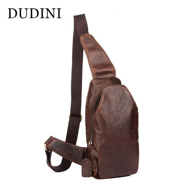 [DUDINI] Single Belt Genuine Leather Mens Chest Pack Cowhide Shoulder Bag For Mens Messager Bags Soft Handmade Corssbody Bags