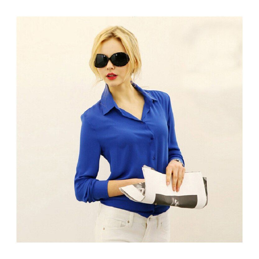 2018 Women Chiffon Shirt Spring Summer Womens New Long-sleeve Chiffon Shirt Blouse Large Size Loose Office Top