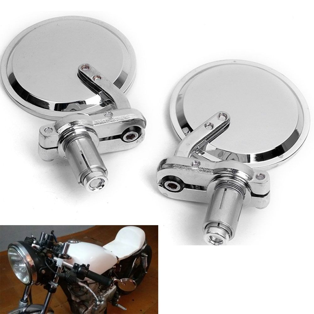 "Chrome 3"" Round 7/8"" Bar End Mirrors Mirror Motorcycle for Cafe Racer Clubman Sportster Chopper motorcycle accessories"