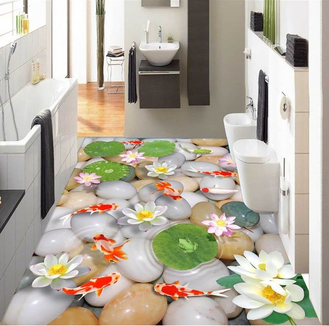 3 d pvc flooring custom wall sticker 3d Lotus flower pebbles carp 3 d bathroom flooring painting photo wallpaper for walls 3d