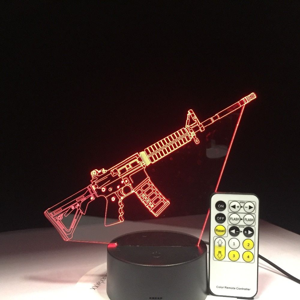 3D LED Toy Machine Gun Desk Lamp USB Visual Luminaria Kids Bedroom Bedside Nightlight Sleep Lighting Fixtures Decor