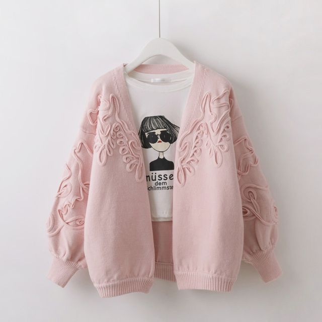 Short design cardigan female 3D decorative warm knit sweaters 2016 Korean spring loose lantern sleeve solid color ladies sweater