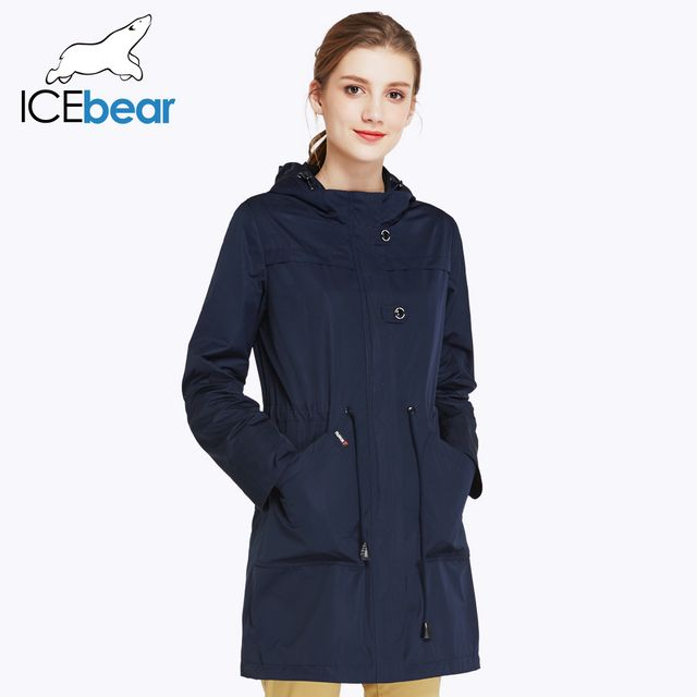 ICEbear 2018 O-Neck Collar Autumn New Arrival Trench Coat Solid Color Woman Fashion Slim Coats Hat Detachable 17G123D