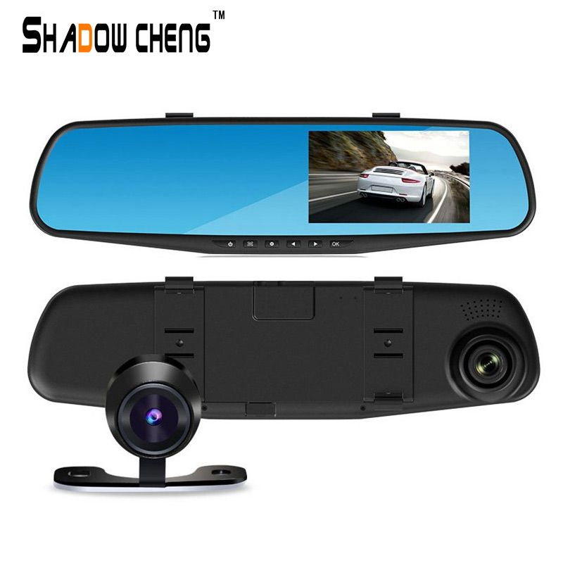 "Full HD 1080P dual lens 4.3"" LCD car DVR rearview mirror car camera tachograph with blue review mirror digital video"