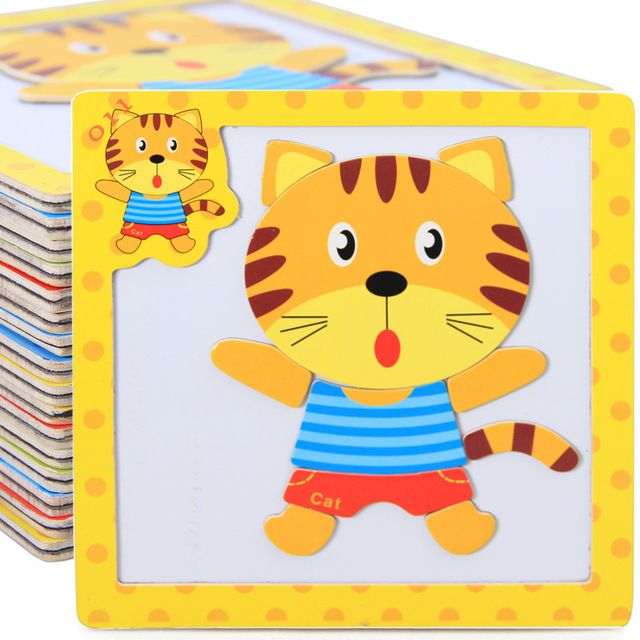 Free shipping Children's Wooden 3D animal magnetism puzzle 4PCS Set, Kids educational magnetism Frogs/tigers/turtles puzzle toy