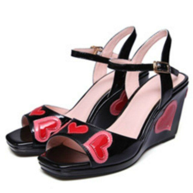 women real patent genuine leather sandals 2017 black pink red hearts 6cm wedges heels fashion ladies comfortable summer shoes