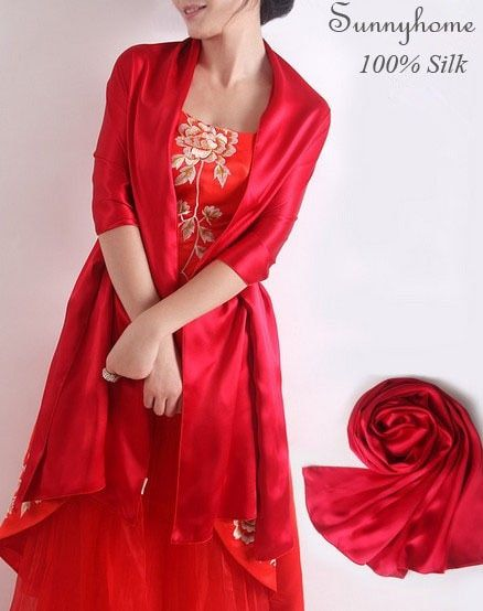 fall 2016 Long silk twill scarf high quality Wedding Party Red wraps 100% satin Silk Pashmina shawl womens Spring Summer scarves