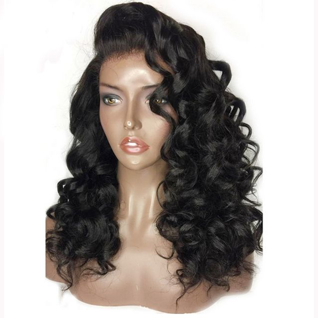 DLME Loose Wave 150% Density Lace Front Synthetic Hair Wigs Afro Black Hair With Natural Hairline African American Wig