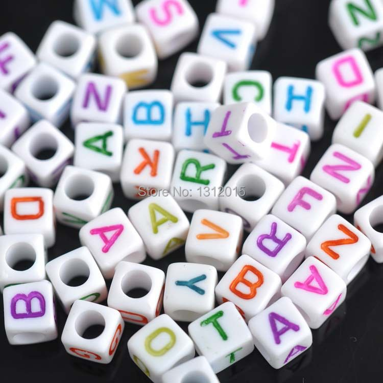 6mm 400pcs Mixed color Letter Alphabet Cube Acrylic neon Beads For Jewelry making DIY YKL0213