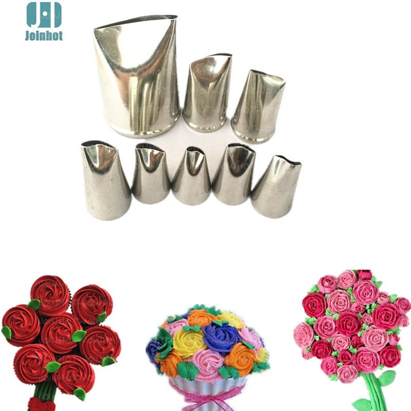 8 pcs  rose Flower Icing piping nozzle Set Pastry Cookie Maker Cream Cupcake Decoration Tips Sugar Craft Cake Decorating Tools