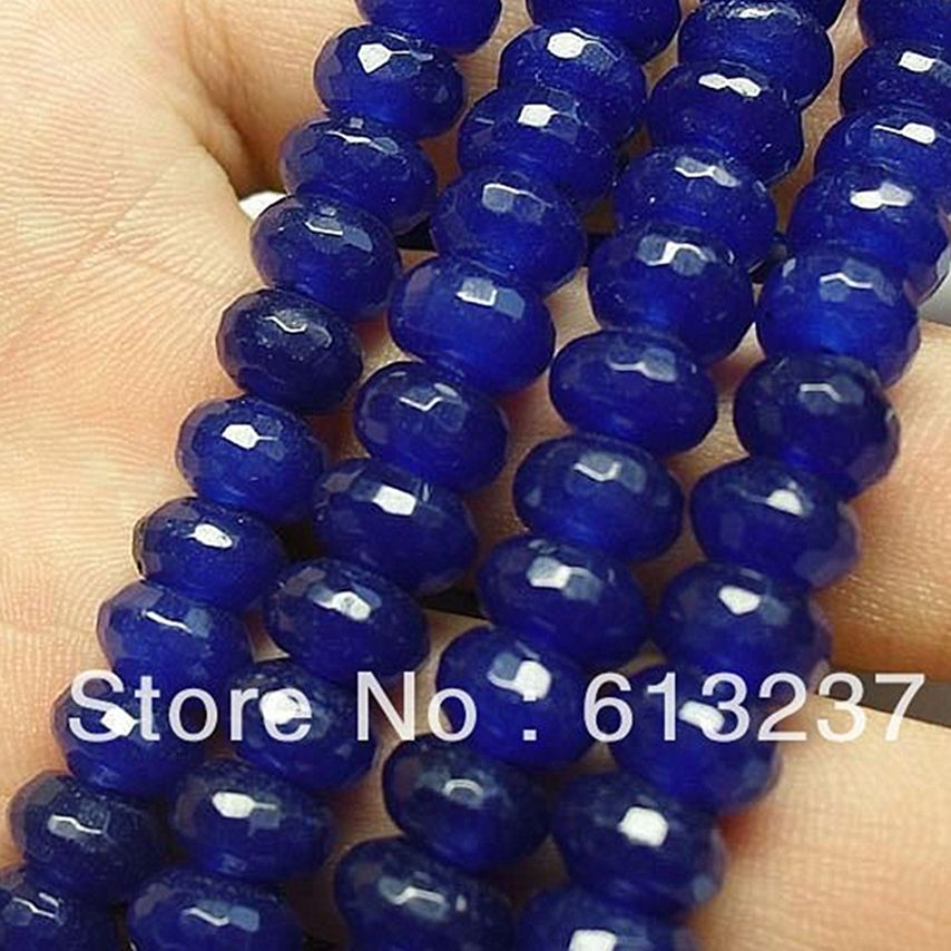 Hot Sale Blue stone chalcedony jades 5x8mm Faceted Rondelle Abacus Loose Beads High Grade Women Diy Spacer Jewelry 15inch GE4135