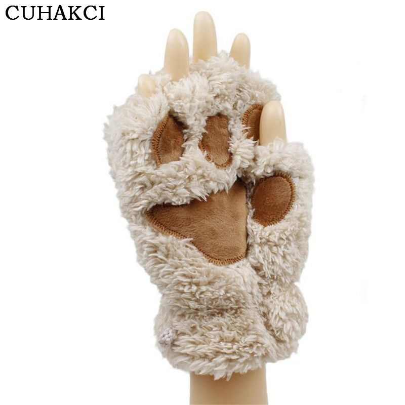 CUAHKCI Fluffy Bear Plush Paw Claw Glove Novelty Halloween Soft Toweling Half Covered Women's Gloves Mittens