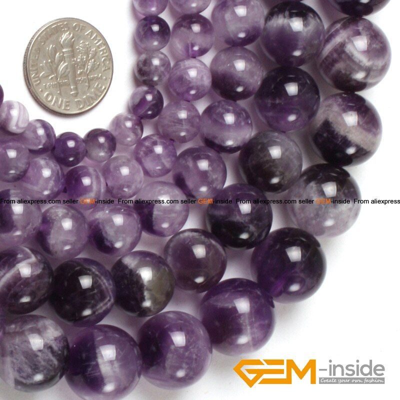 Natural Gem Stones Purple Dream Lace Amethysts Round Stone Loose Beads For Jewelry Making Strand 15 Inches DIY Wholesale